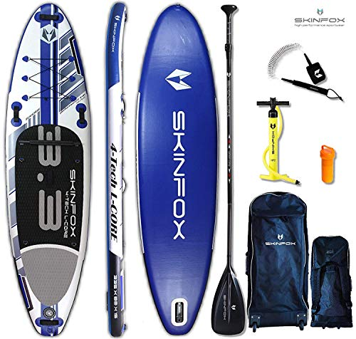 SKINFOX Seahorse rot iSUP Stand up Paddle Board Set aufblasbar Paddelboard|TESTSIEGER SUP|335x78x15 cm|Tragkraft 175 kg|(Board,Rucksack m. Rollen,Doppelhub-Pumpe,Repair-Set,Carbon-SUP Paddel,Leash)