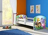 Clamaro 'Fantasia Weiß' 160 x 80 Kinderbett Set inkl. Matratze und Lattenrost, mit verstellbarem Rausfallschutz und Kantenschutzleisten, Design: 01 Tierpark-1