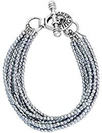 King Baby Women's 925 Sterling Silver Eight Strands Hematite Beads Bracelet with Mini Toggle Clasp