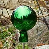 Gartenkugel, Rosenkugel, Dekokugel 'MIRROR-12' grün, Ø 12 cm, mundgeblasen und handgeformtes Glas Unikat (ART GLASS powered by CRISTALICA)