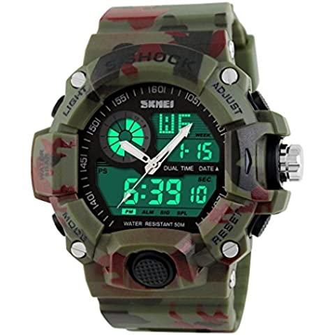 pkaty Sports Orologio da uomo analogico-digitale, luce posteriore a LED Allarme Cronografo mulitfunction polso watches-green