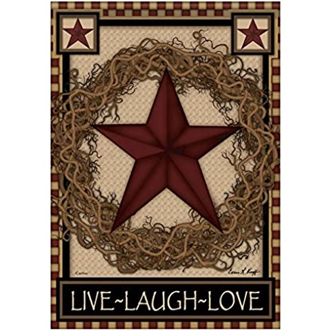 Paese Barn Primitive ghirlanda di stelle Live Laugh Love doppio sided giardino Bandiera