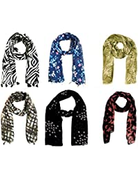 ICW Girls' Tassels Scarf (Multi-Coloured Small) 22 x 72 Inch Chiffon Export Surplus Quality 6 pc)