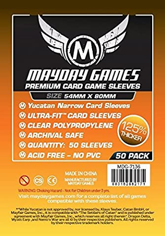 50 Mayday 54 x 80 Yucatan Narrow Premium Card Sleeves Board Game - Brettspiel Hüllen