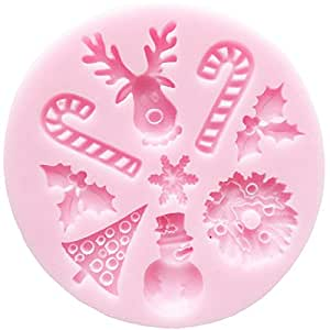 SANTAS ESSENTIALS SILICONE MOULD _ Candy,Snowflake,Chrismas Tree,Wreath,Holly and Berries, Food Grade Icing lace Mould, non stick Sugar paste, Chocolate, Fondant, Butter, Resin, Cabochon, Polymer Clay, fimo, gum paste, PMC, Wax, Soap Mold