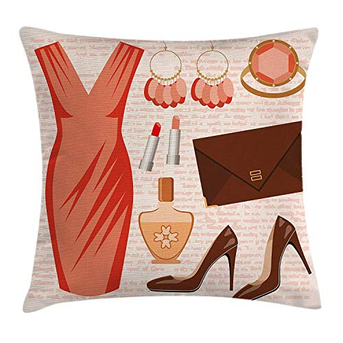 DPASIi Heels and Dresses Throw Pillow Cushion Cover, Accessories Fashion Cocktail Dress Lipstick Earrings High Heels, Decorative Square Accent Pillow Case,Salmon Brown Peach 16x16inch Accent High Heel
