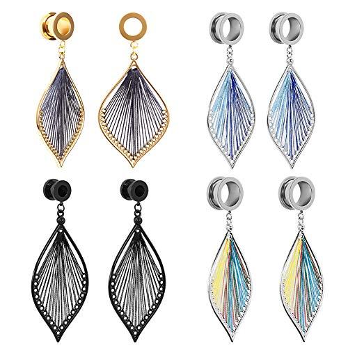 COOEAR Elegante Ohr messgeräte blätter baumeln Tunnel Frauen Piercing stecker Ohrringe 4 Farben für wählen größe 2g (6mm) bis 1 Zoll (25mm) (Ohr-messgeräte, Größe 10)