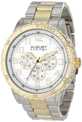 August Steiner Men's Premier Multifunction Watch with Silver Dial and Two-Tone Stainless Steel Bracelet AS8060TTG