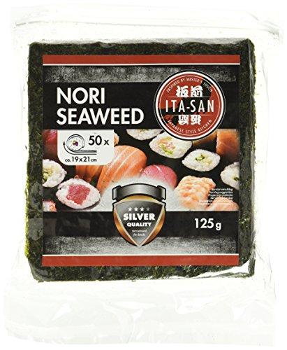 ITA-SAN Seetang, geröstet, für Sushi, ganzes 50 Blatt, nori silber, 1er Pack (1 x 125 g) (Seetang-blätter Sushi Für)