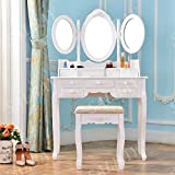 Joolihome White Dressing Table with Stool and 3 Mirror,Wood Bathroom Vanity Makeup Table Set 7 Drawers for Girls