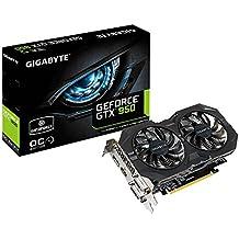 Gigabyte GeForce GTX 950 WindForce 2 OC - Tarjeta grafica (350 W, GeForce GTX 950 a 1102 MHz, 2 GB de RAM, HDMI), negro