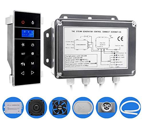 CGOLDENWALL 3 kW Bluetooth-gesteuerter Dampfbad-Generator für Nassdampf-Sauna und Spa Duschkabine mit LCD-Touchscreen und Temperatursensor (Wandmontage-Typ)