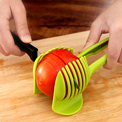 Japace® Portautensili per Affettare, Affetta Pomodori, Limone, Cipolla,Verdure, Aroma Sicuro E resistente in Materiale ABS Cucina Gadget (Verde)