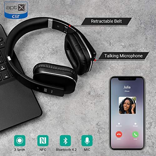 August EP650 – Bluetooth NFC Kopfhörer mit aptX Technologie, schwarz - 3