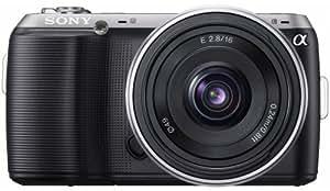 Sony NEX-C3AB Systemkamera (16,2 Megapixel, 7,5 cm (3 Zoll) Display, HD ready, Live View, bildstabilisiert) Kit inkl. 16 mm Objektiv schwarz