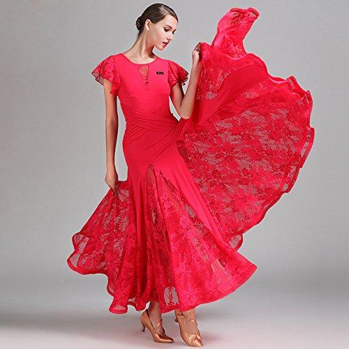 ZTXY Moderne Dame Große Pendel Spitze Kurze Ärmel Modern Dance Dress Tango Und Walzer Tanz Kleid Tanzwettbewerb Rock Lotus Blatt Ärmel Kleid Tanz Kostüm,Red,S