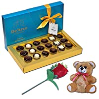 De'Arco Chocolatier Chocolates Valentine Day Gift for Girlfriend Boyfriend Husband Wife, Premium Luxury Chocolates, 18pcs + Free Rose & Teddy