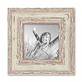 Photolini Vintage Bilderrahmen 10x10 cm Weiss Shabby-Chic Massivholz mit Glasscheibe und Zubehör/Fotorahmen/Nostalgierahmen