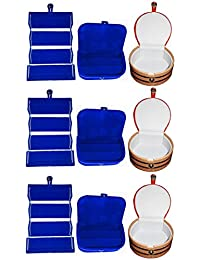 Afrose Combo 3 Pc Blue Earring Folder 3 Blue Ear Ring Box And 3 Pc Bangle Box Jewelry Vanity Case