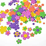 BCP 200 Pcs Self-Adhesive Foam Flower Shapes Stickers For Craft Art Project