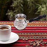 aheli Premium Messing Gravur Türkisch Arabisch Mokkakanne/Briki Griechisch Kaffeekanne mit Holzgriff, Serviergeschirr aus Email