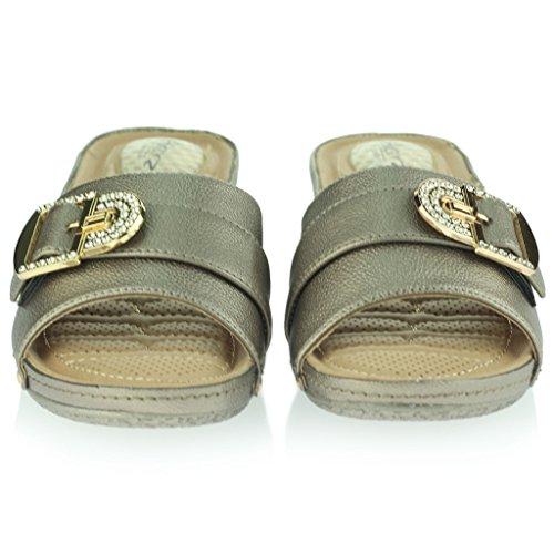 Femmes Dames Point de pression Doux Flexible Massage Été Décontractée Glisser sur Talon compensé Des sandales Chaussures Taille Gris