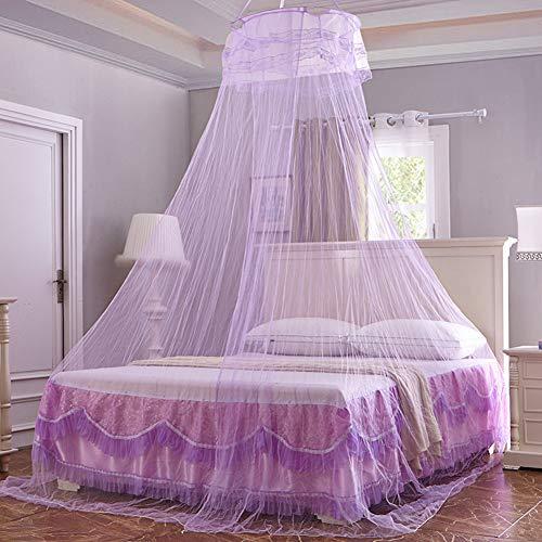 Moskitonetz Luna, Mückennetz inkl Montagematerial,Mückenschutz, Moskitoschutz,Insektenschutz auch auf der Reise rundes Netz Vorhang,einfache Anbringung, Tragetasche, Keine Chemikalien, purple - Rennen-auto-vorhänge