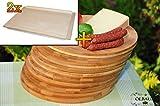Frühstücks-Servierbrettbrett, Buche, 2 Stück - massive, hochwertige ca. 16 mm starke Schnitzelklopfbrett natur mit abgerundeten Kanten, Maße viereckig je ca. 38 cm x 51 cm & 10 mal Schneidebrett - massive, hochwertige ca. 12 mm starke Picknick-Grill-Holzbretter mit Rillung natur, dunkles Bambus, Maße rund je ca. 25 cm Durchmesser als Bruschetta-Servierbrett, Brotzeitbretter, Steakteller schinkenbrett rustikal, Schinkenteller von BTV, Brotzeitteller Bayern