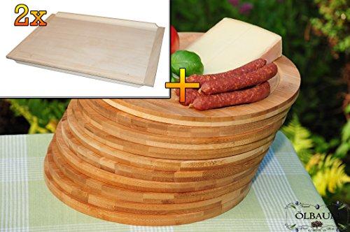 Frühstücks-Servierbrettbrett, Buche, 2 Stück - massive, hochwertige ca. 16 mm starke Schnitzelklopfbrett natur mit abgerundeten Kanten, Maße viereckig je ca. 38 cm x 51 cm & 10 mal Schneidebrett - massive, hochwertige ca. 12 mm starke Picknick Grill-Holzbretter mit Rillung natur, dunkles Bambus, Maße rund je ca. 25 cm Durchmesser als Bruschetta-Servierbrett, Brotzeitbretter, Steakteller schinkenbrett rustikal, Schinkenteller von BTV, Brotzeitteller Bayern, Wildbrett, Wildbret,