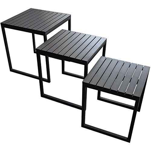 Multistore 2002 3er Set Alu-Beistelltische Polywood Tischplatte - Schwarz Couchtisch Wohnzimmertisch -