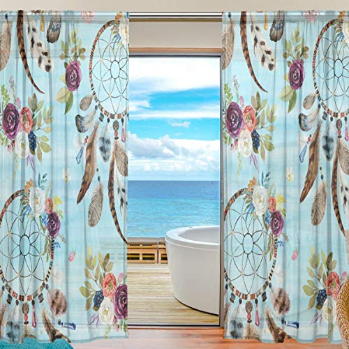 funnyy Cortina Transparente para Ventana, diseño Floral, atrapasueños, Plumas de Tul y Paneles de Cortina para recámara, Sala de Estar, decoración del hogar, 55 x 78 Pulgadas, 2 Paneles, 55 x 78 Inch