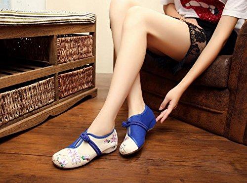 ZQ Blaue und weiße Porzellan bestickte Schuhe, Sehnensohle, ethnischer Stil, Femaleshoes, Mode, bequeme, lässige Segeltuchschuhe White