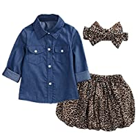 Chic-Chic 3PCS Toddler Baby Girl Long Sleeve Jean Shirt Blouse Tops + Leopard Print Mini Skirt + Headband Casual Clothing Set Outfits Clothes