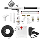 Gocheer Airbrush Set, Airbrush Gun Complete Kit Dual-Action,Mini Airbrush Compressor with 0.2 0.3