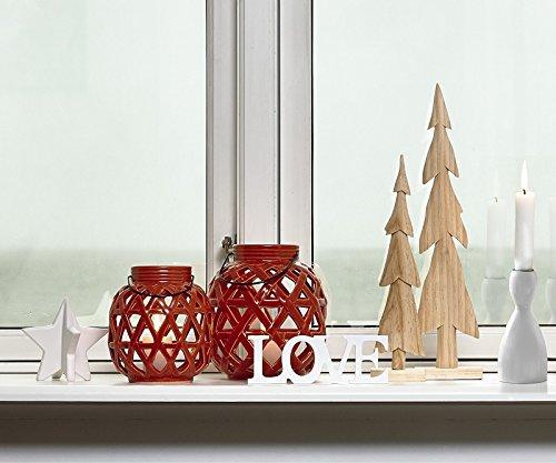 KJ Collection Hurricane lámpara para velas té luz rojo para colgar D 16cm H 18cm
