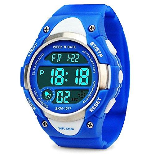 Jungen Digital Uhren, Kinder Sport Armbanduhr mit Alarm, Outdoor 50 m Wasserdicht Kinder Elektronische Handgelenk Uhren mit LED-Licht Stoppuhr für Jugendliche Jungen - Blau von VDSOW