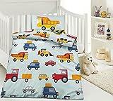 2-teiliges Kinder Bettwäsche Set Mikrofaser Bettbezug Größe 100x135cm Kissenbezug 40x60cm Farbe Gelb Blau Bunt Baustelle Bagger