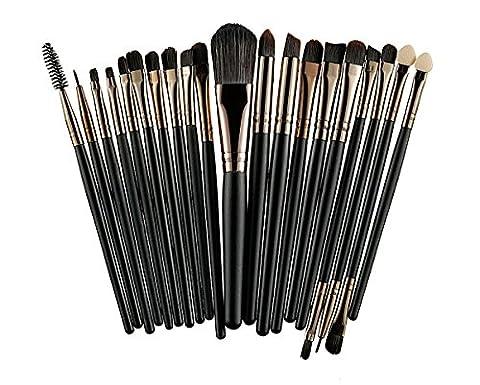 22 teiliges Kosmetik Make-up Pinsel Set Blusher Lidschatten Pulver Foundation Augenbraue Lippe Make Pins, Brushes Set, vegan und nicht tierisch + Kosmetikmäppchen
