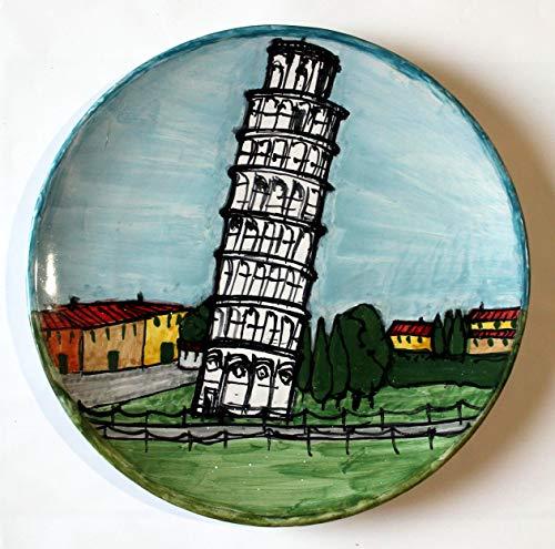 Platte keramik Turm von Pisa - Platte Hand bemalt Größe cm 21,3,hoch cm 2,3- Hergestellt in Italien Lucca, Zertifikat. -