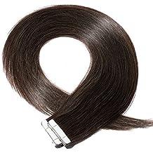 Extensiones de Cabello Natural Adhesivas Tape in Hair Extensions - Pelo Humano 100% REMY - 20 Piezas por Paquete (#2 Marrón oscuro/50cm 50g)