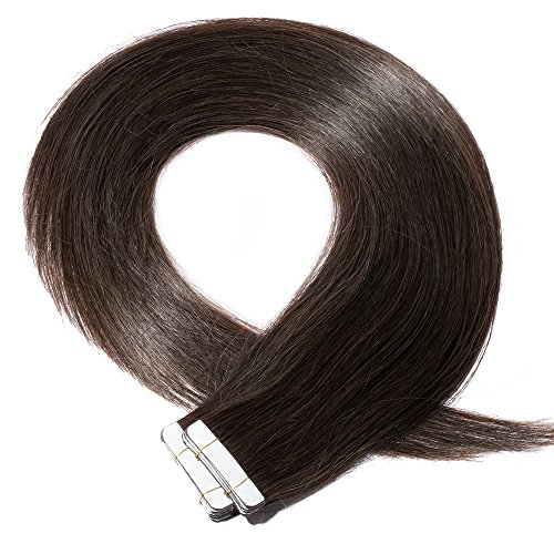 40-55cm extension capelli veri adesive 20 fasce 50g/set 100% remy human hair - tape in hair extension allungamento con biadesivo (45cm #2 marrone scuro)