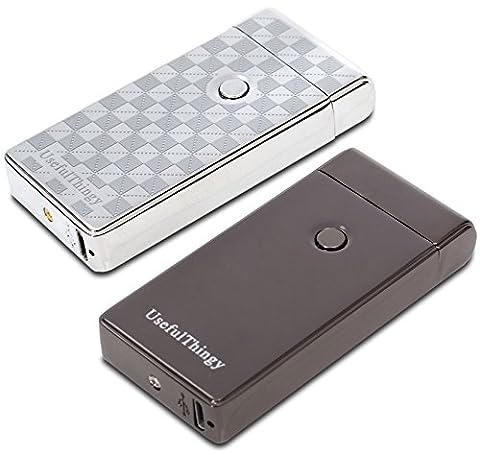 USB Lighters 2 Pack - Dual Arc Electronic Lighter Electric Plasma Lighter - Tesla Coil Rechargeable Cigarette Lighter 3 Designs (Black +
