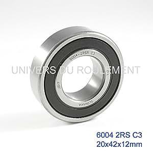 ROULEMENT 20X42X12 ACIER 6004 2RS (1pc) ZVL HAUT DE GAMME ISO P6 C3
