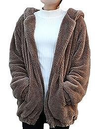 Minetom Femmes Fille Hiver Fluffy Ours Oreille Zipper Hoodies Mignonne Encapuchonné Veste Outwear