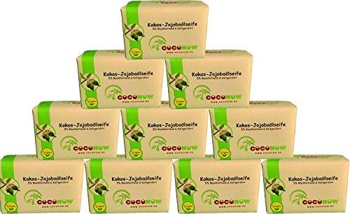 10er Pack, Kokos-Jojobaölseife - kaltgerührt, 5% Rückfettend -