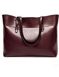Nikauto Leather Tote Bag For Women, Large Commute Handbag Shoulder Lady Zipper Women'S Work Satchel - Dark Red