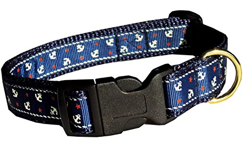 Halsband Leder Jacke (Halsband Hund Maritim Anker Marine Seefahrt Urlaub Hundehalsband für kleine Hunde Nylon Halsung Band verstellbar 30 - 43 cm x 2,0 cm)