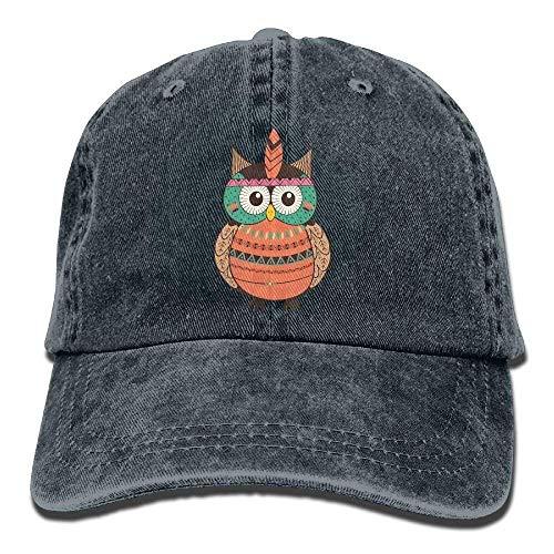 GHEDPO Owl Coloring Denim Baseball Caps Hat Adjustable Cotton Sport Strap Cap for Men ()