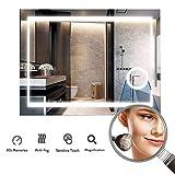 LUVODI Miroir Salle Bain 80x60 cm avec Éclairage Intégré Miroir Mural Lumineux Anti-buée...