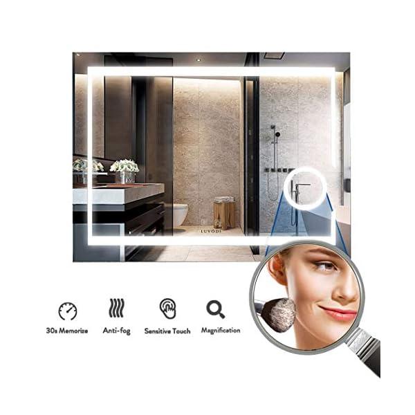 LUVODI Espejo de Baño Pared con Iluminación LED Espejo de Baño Moderno con Interruptor Táctil y 3X Aumento Función Anti…